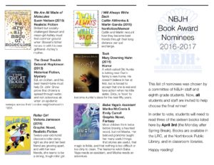 The front page of our NBJH Book Award brochure